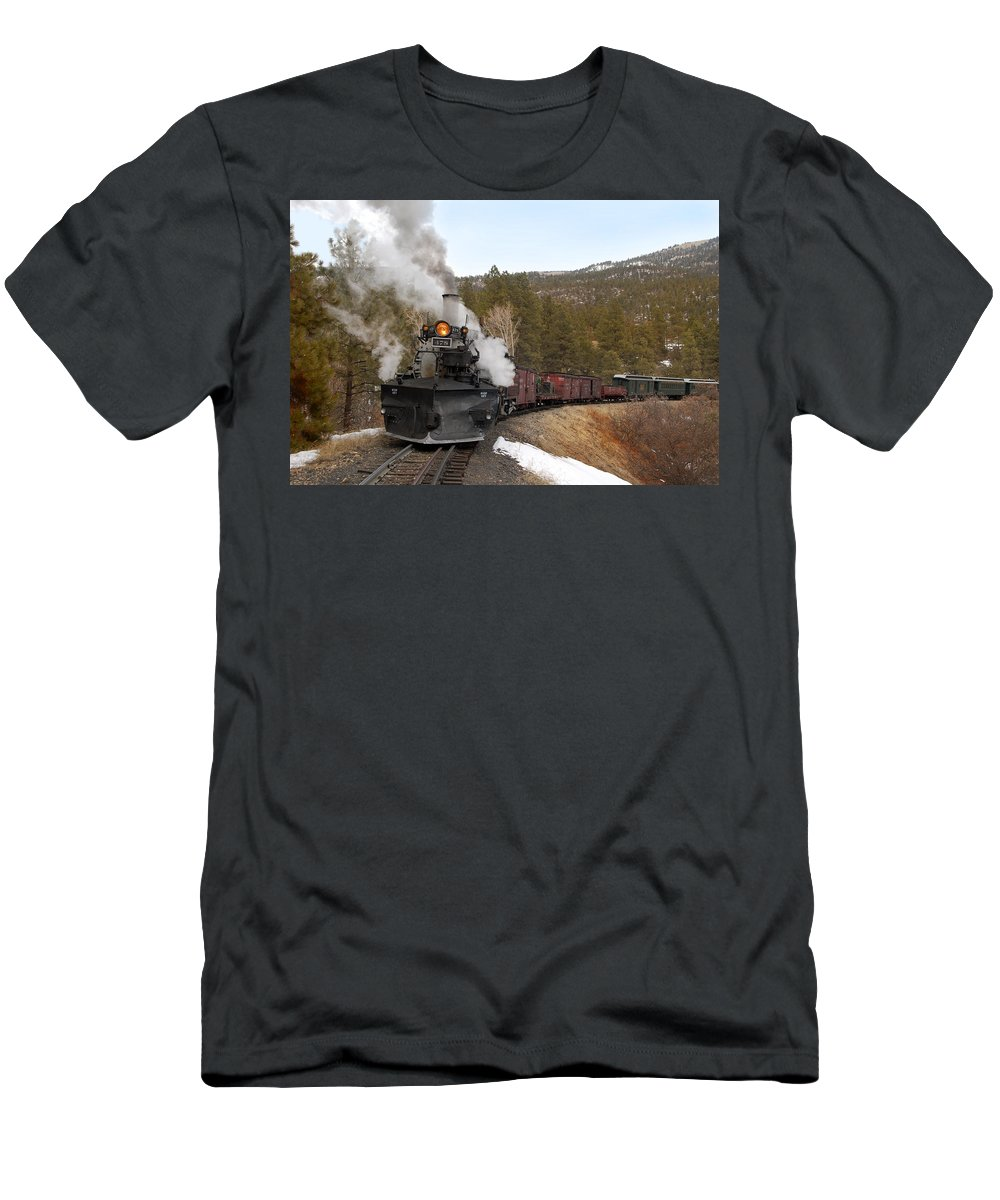 Steam Train Men's T-Shirt (Athletic Fit) featuring the photograph Quick Stop On The Line by Ken Smith