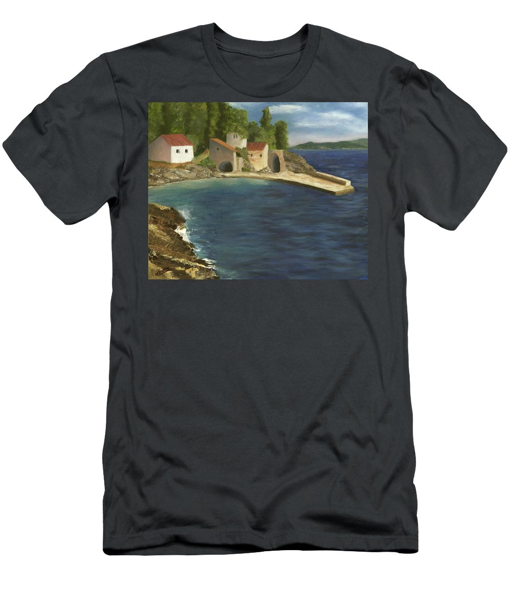 Seascapes Men's T-Shirt (Athletic Fit) featuring the painting Quiet Cove by Deborah Butts