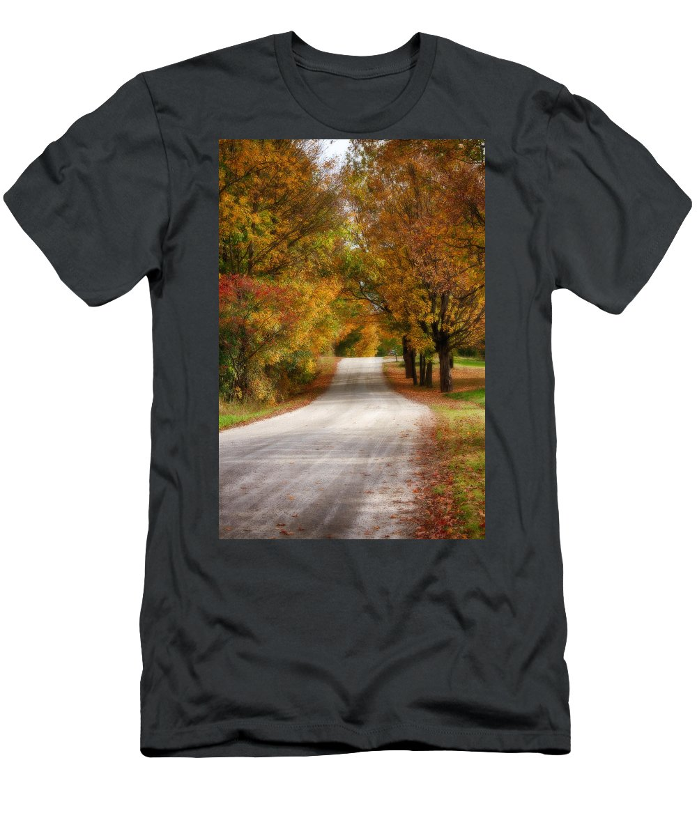 New England Fall Foliage Men's T-Shirt (Athletic Fit) featuring the photograph Quiet Vermont Backroad by Jeff Folger
