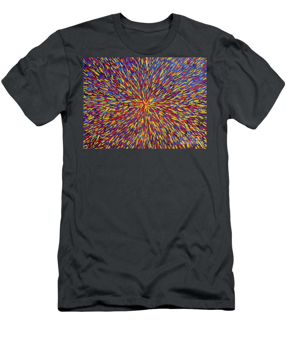 Abstract Men's T-Shirt (Athletic Fit) featuring the painting Radiation Blue by Dean Triolo