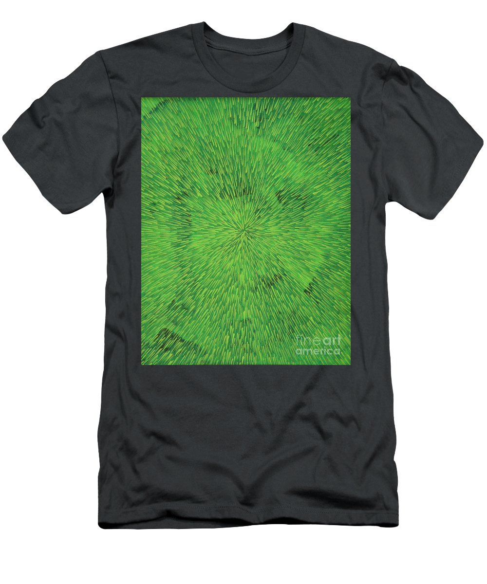 Abstract Men's T-Shirt (Athletic Fit) featuring the painting Radiation Green by Dean Triolo