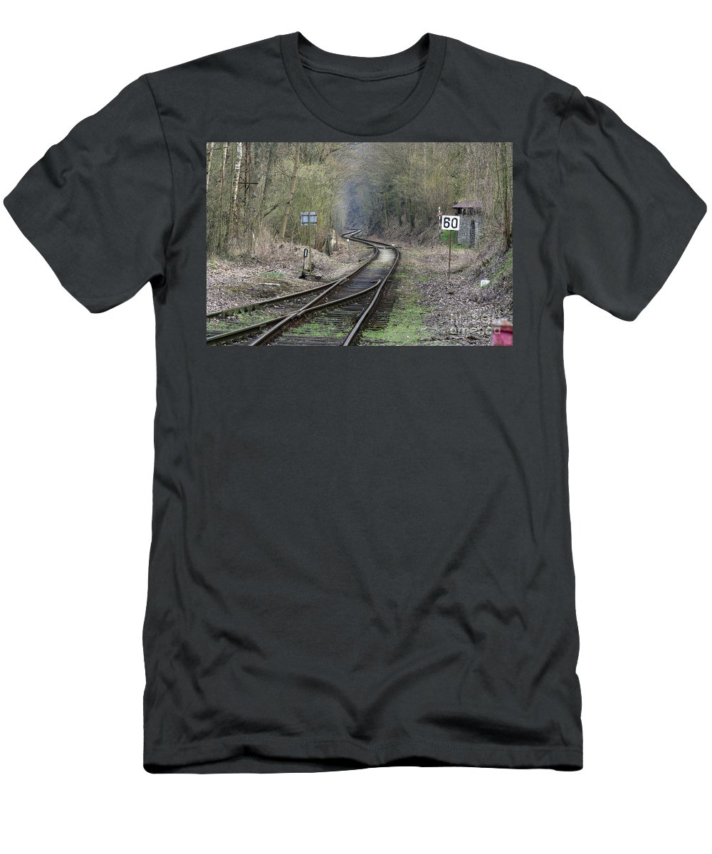 Rails Men's T-Shirt (Athletic Fit) featuring the photograph Railway Line by Michal Boubin