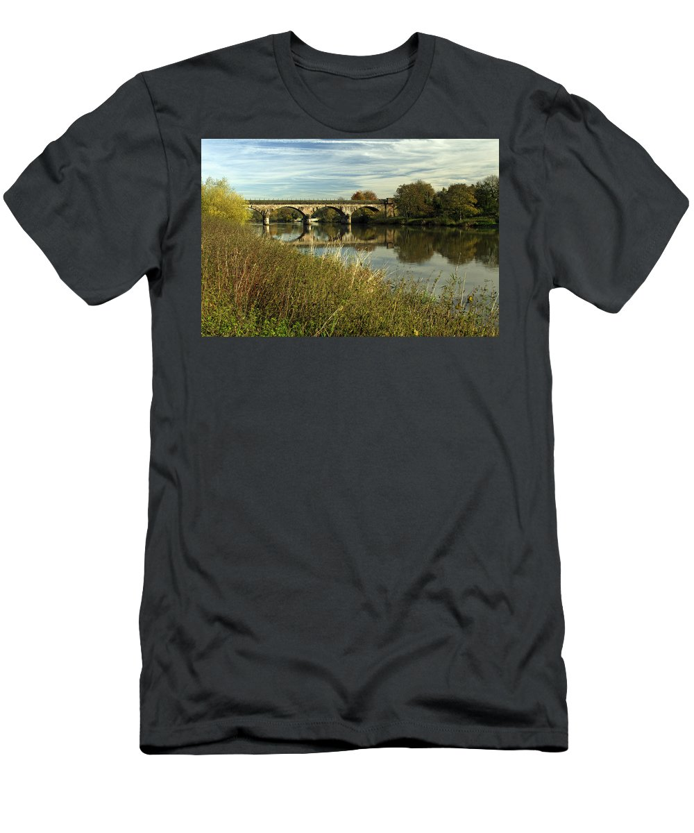 Britain Men's T-Shirt (Athletic Fit) featuring the photograph Railway Viaduct At Waterside - Stapenhill by Rod Johnson