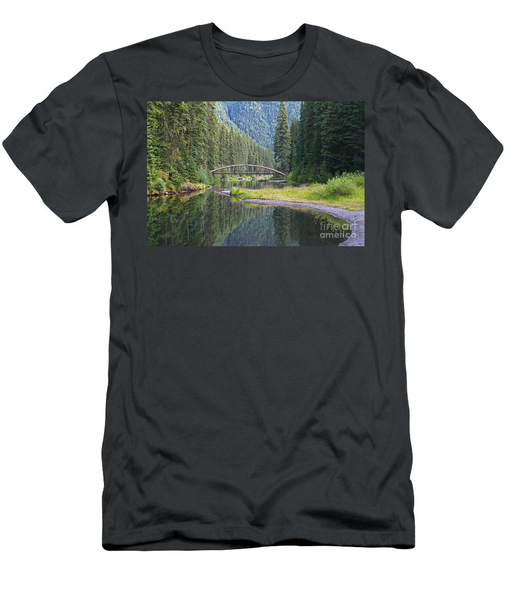 Rainbow Bridge Men's T-Shirt (Athletic Fit) featuring the photograph Rainbow Bridge by Sharon Talson