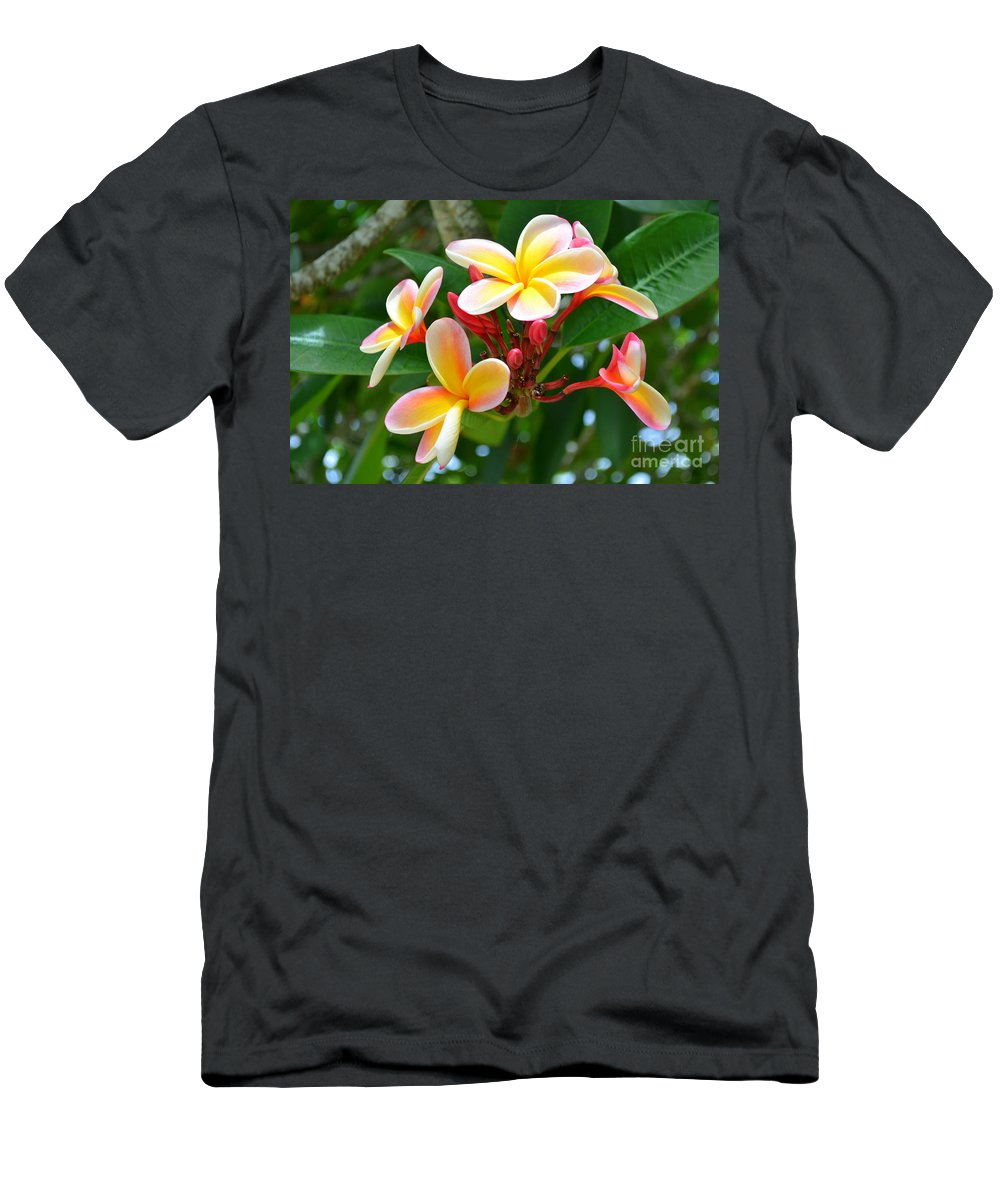 Flowers Men's T-Shirt (Athletic Fit) featuring the photograph Rainbow Plumeria - No 4 by Mary Deal