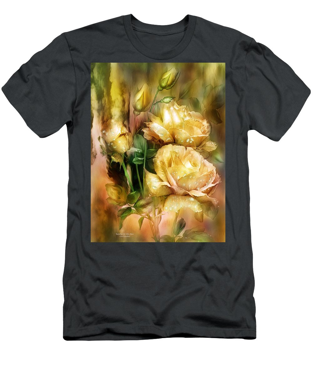 Roses Men's T-Shirt (Athletic Fit) featuring the mixed media Raindrops On Yellow Roses by Carol Cavalaris