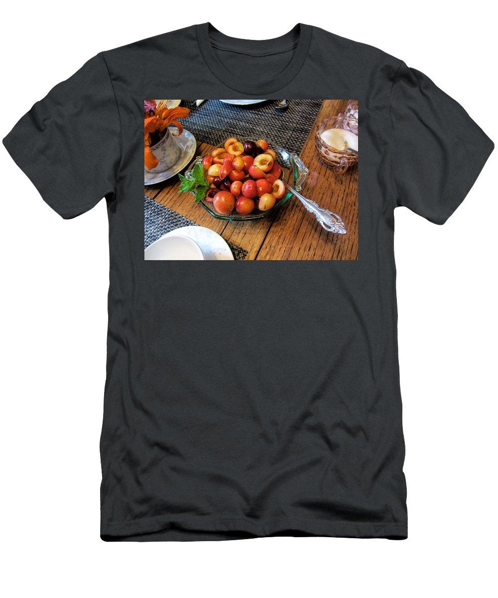 Rainier Cherries Men's T-Shirt (Athletic Fit) featuring the photograph Rainier Cherries - Yummy by Kathy Clark