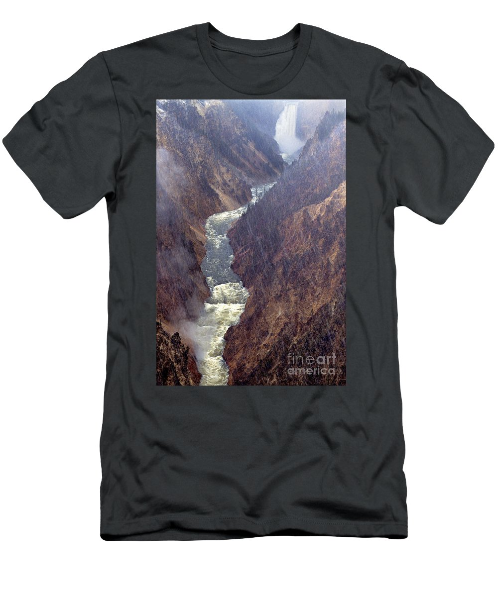 North America Men's T-Shirt (Athletic Fit) featuring the photograph Rainstorm Over Grand Canyon Of The Yellowstone by Dave Welling