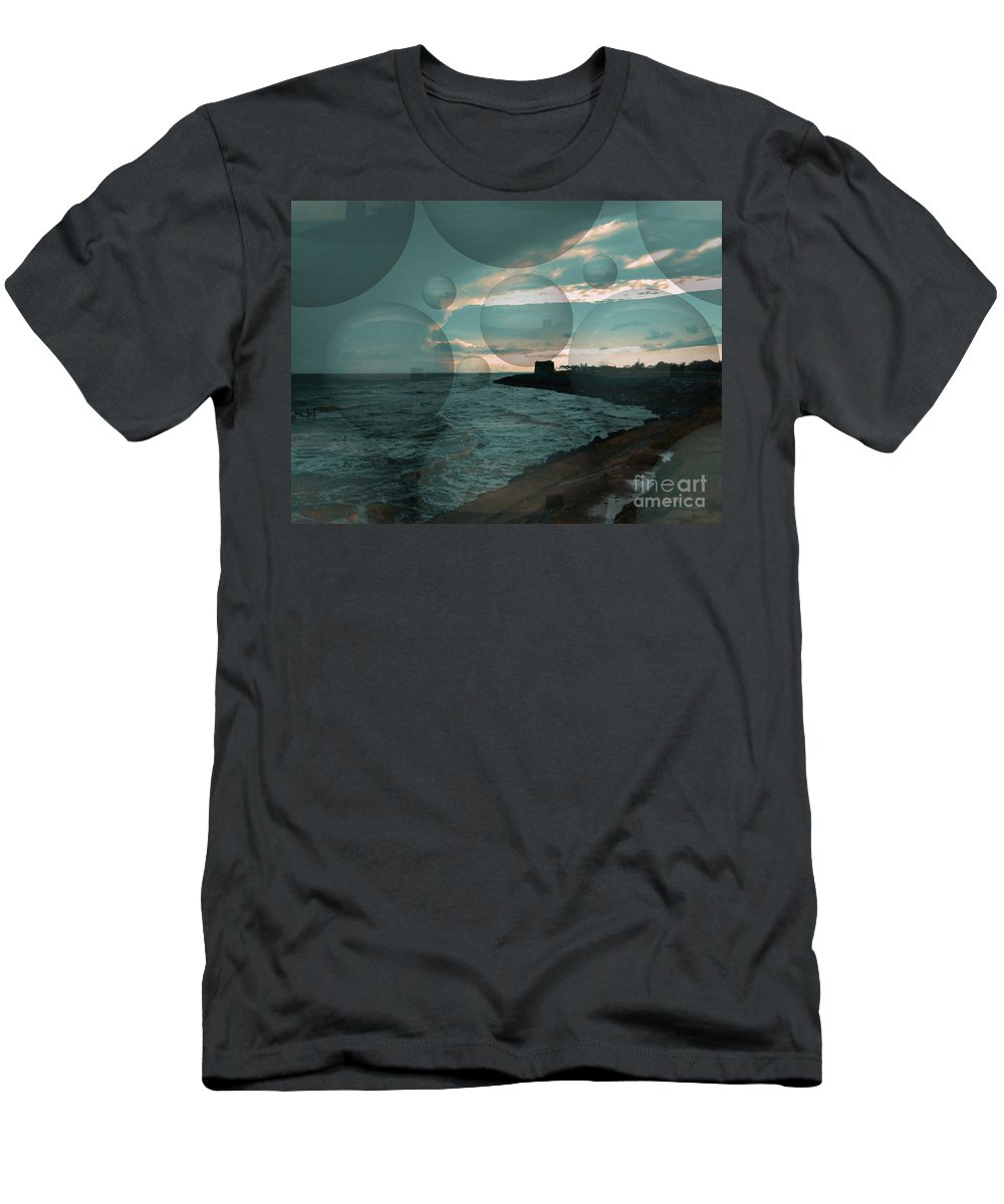 Water Men's T-Shirt (Athletic Fit) featuring the digital art Rainy Skies by Chris R Kitchener