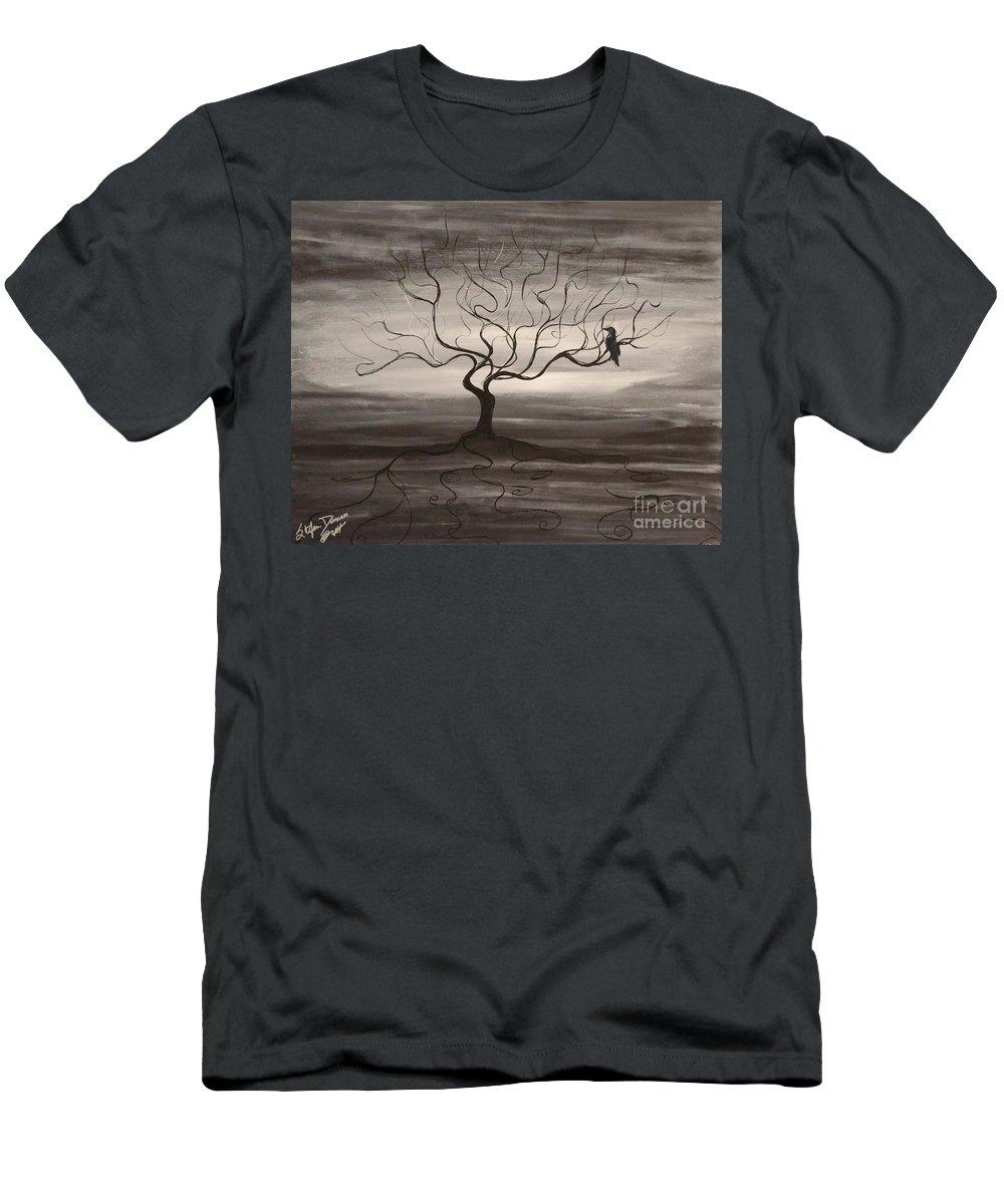 Raven Men's T-Shirt (Athletic Fit) featuring the painting Raven Sonatta by Stefan Duncan