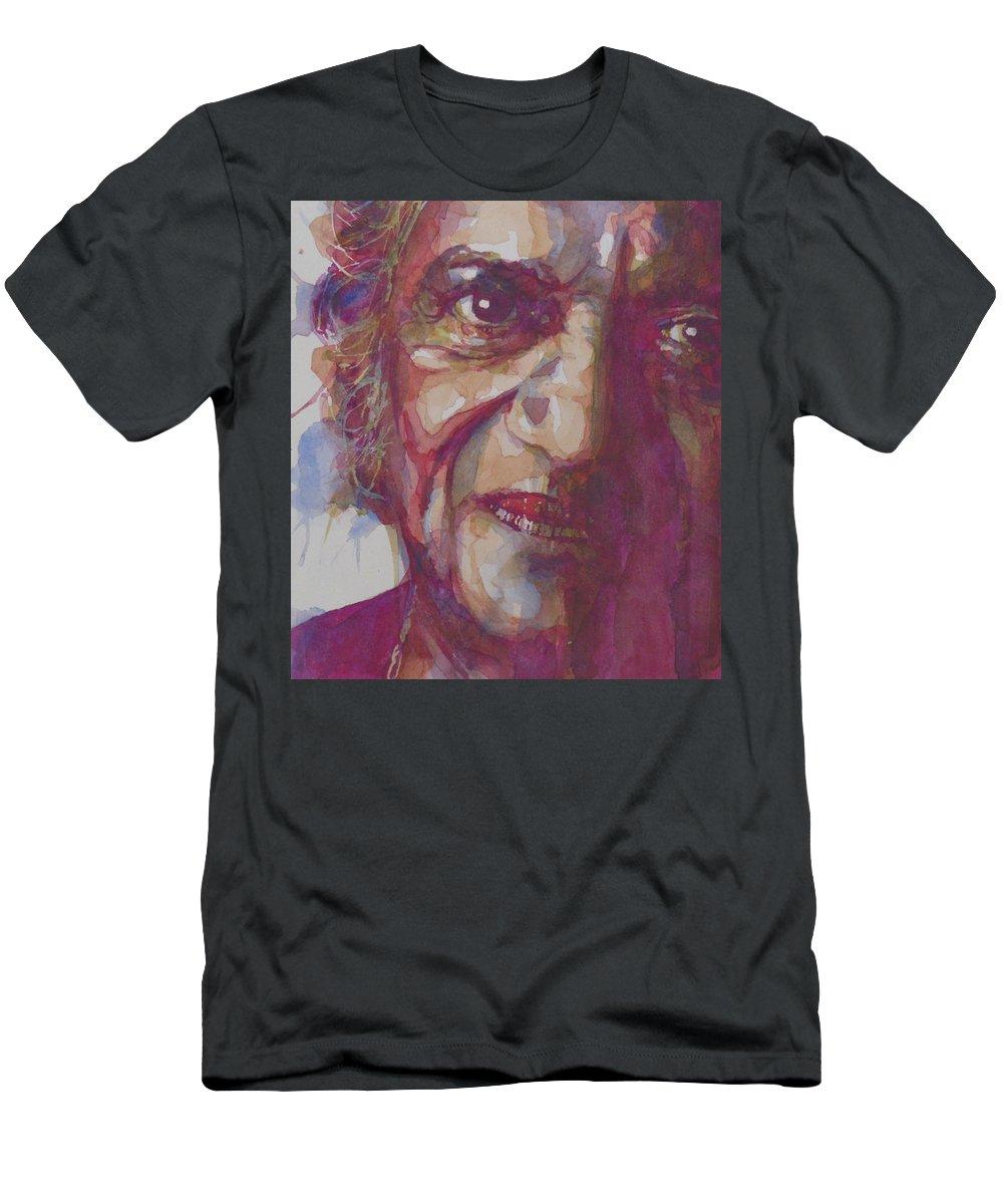 Ravi Shankar Men's T-Shirt (Athletic Fit) featuring the painting Ravi Shankar- Rabinda Shankar Chowdhury by Paul Lovering
