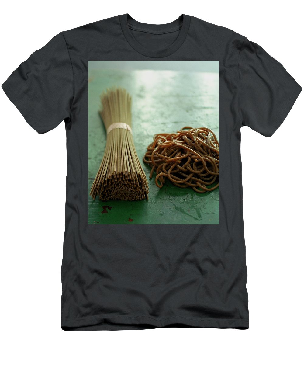 Cooking Men's T-Shirt (Athletic Fit) featuring the photograph Raw And Cooked Pasta by Romulo Yanes