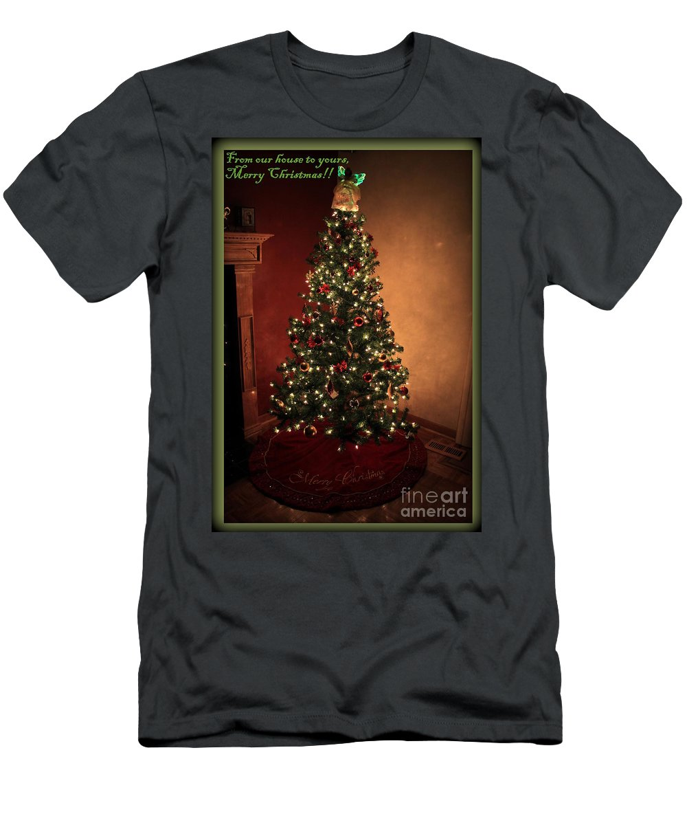 Green Men's T-Shirt (Athletic Fit) featuring the photograph Red And Gold Christmas Tree With Caption by Jennifer E Doll