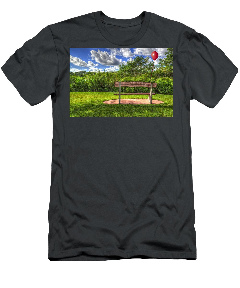 Red Balloon Men's T-Shirt (Athletic Fit) featuring the photograph Red Balloon by Paul Wear