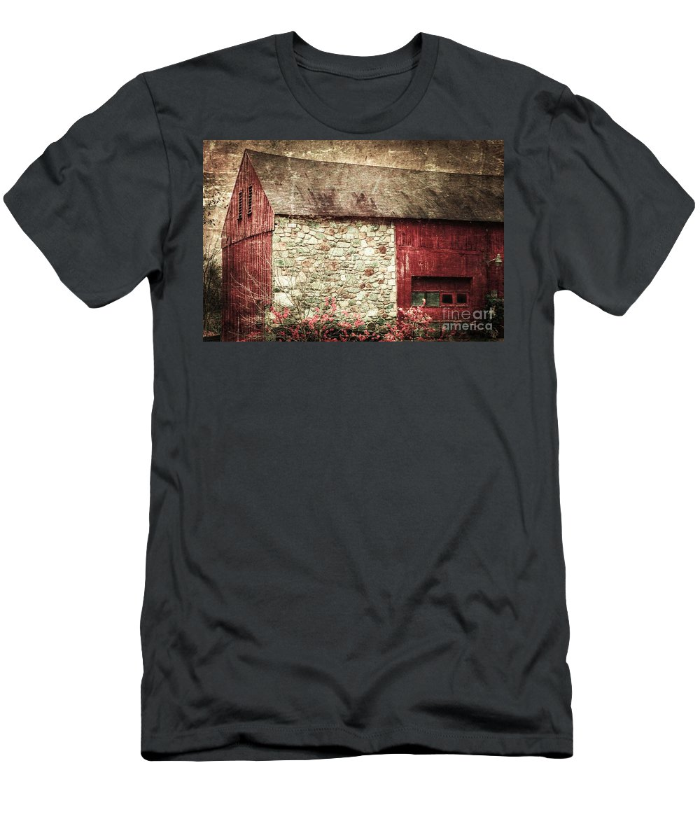 Red Men's T-Shirt (Athletic Fit) featuring the photograph Red Barn Enhanced by Judy Wolinsky