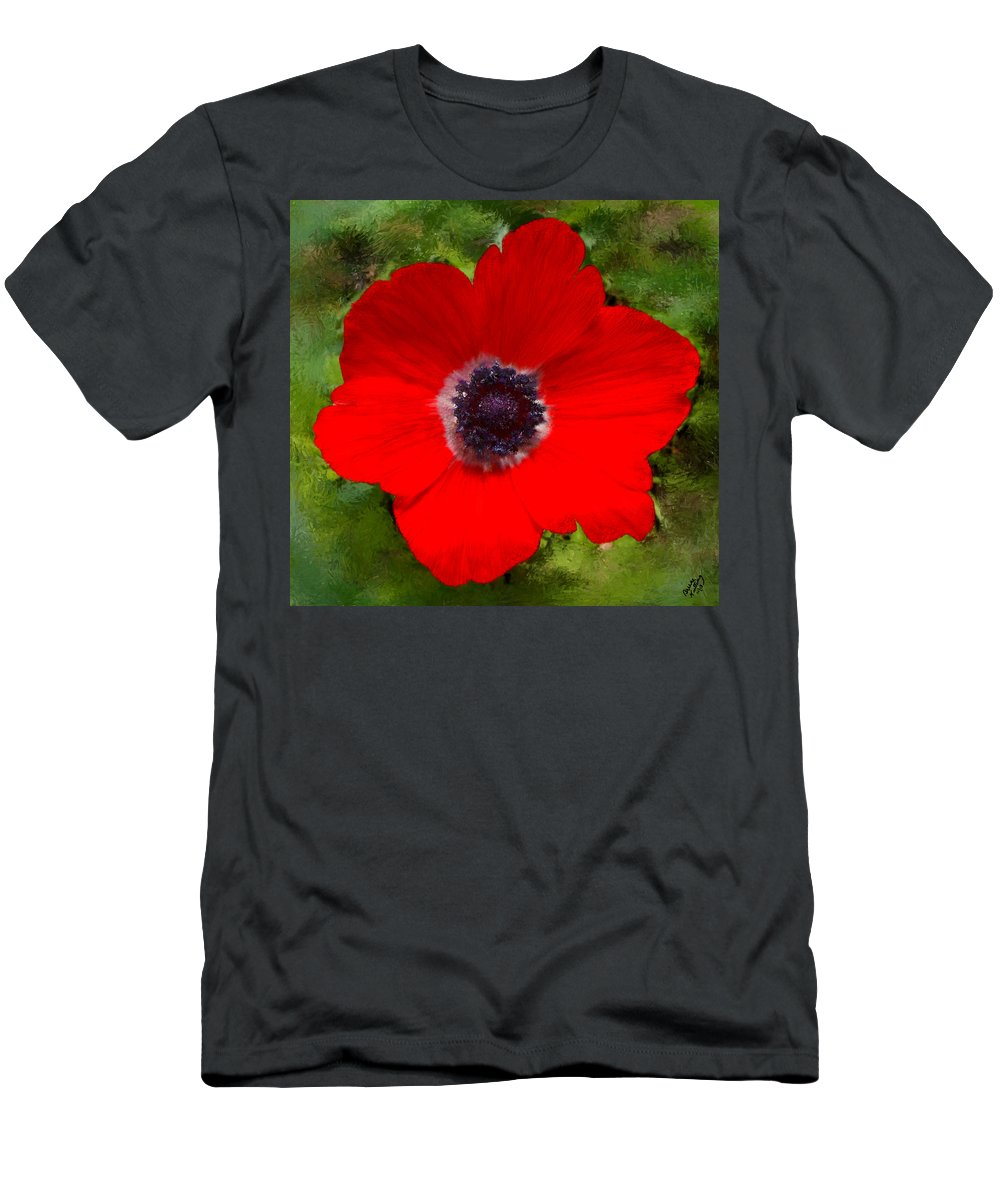 Red Men's T-Shirt (Athletic Fit) featuring the painting Red Calanit Magen by Bruce Nutting