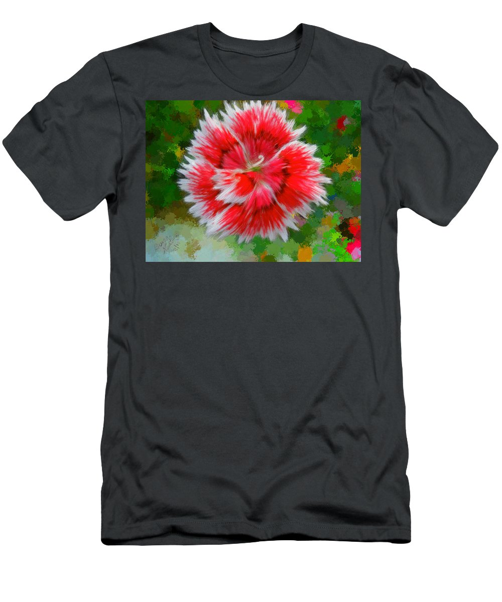 Red Men's T-Shirt (Athletic Fit) featuring the painting Red Flower Macro by Bruce Nutting