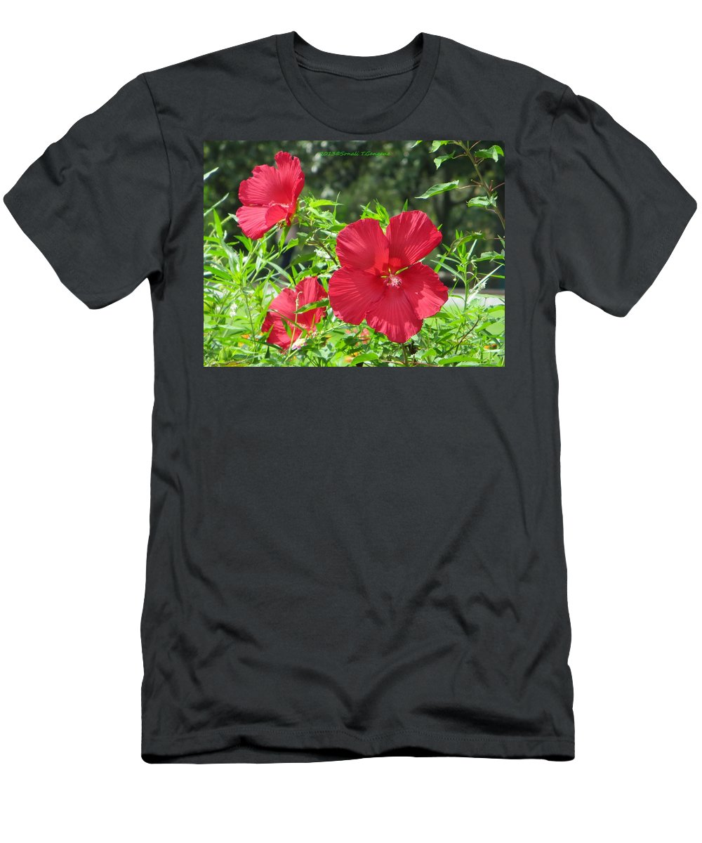 Red Flowers Men's T-Shirt (Athletic Fit) featuring the photograph Red Hollyhocks by Sonali Gangane