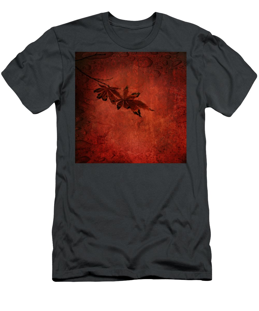 Autum Leaves Men's T-Shirt (Athletic Fit) featuring the photograph Red Japanese Maple On Red by Peter v Quenter