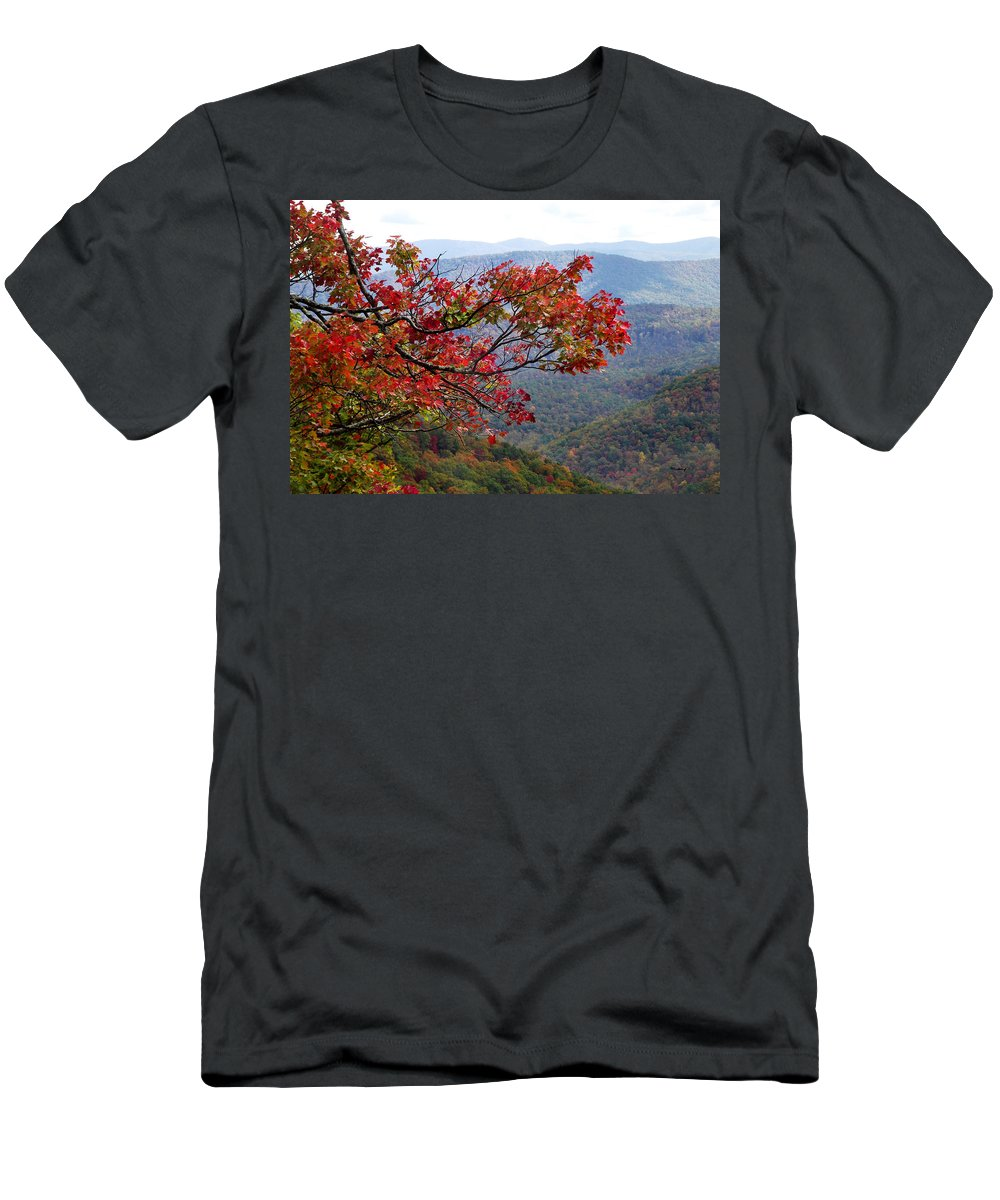 Landscapes. Printscapes Men's T-Shirt (Athletic Fit) featuring the photograph Red Leaves In The Blueridge by Duane McCullough