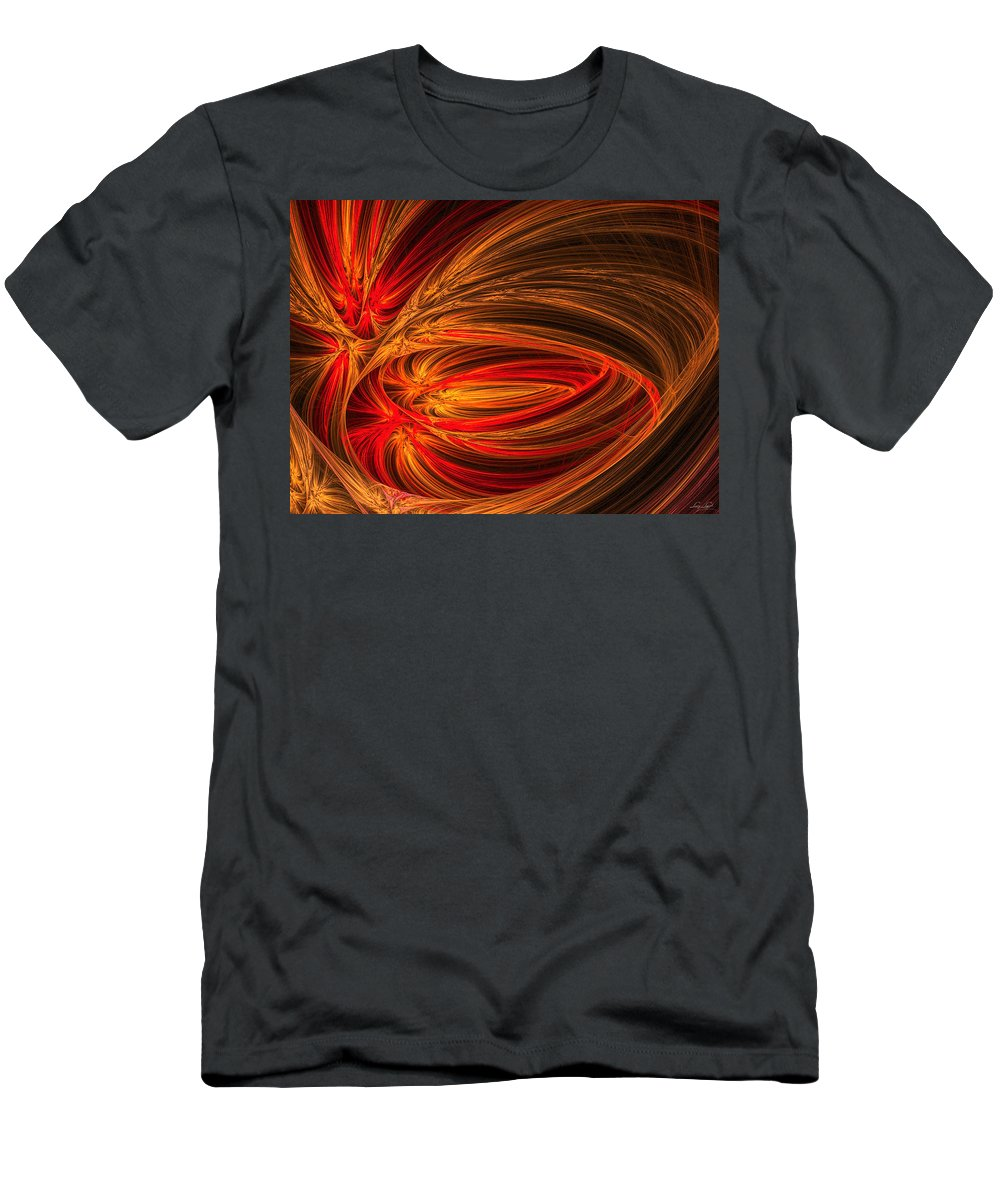 Fractal Men's T-Shirt (Athletic Fit) featuring the photograph Red Luminescence-fractal Art by Lourry Legarde