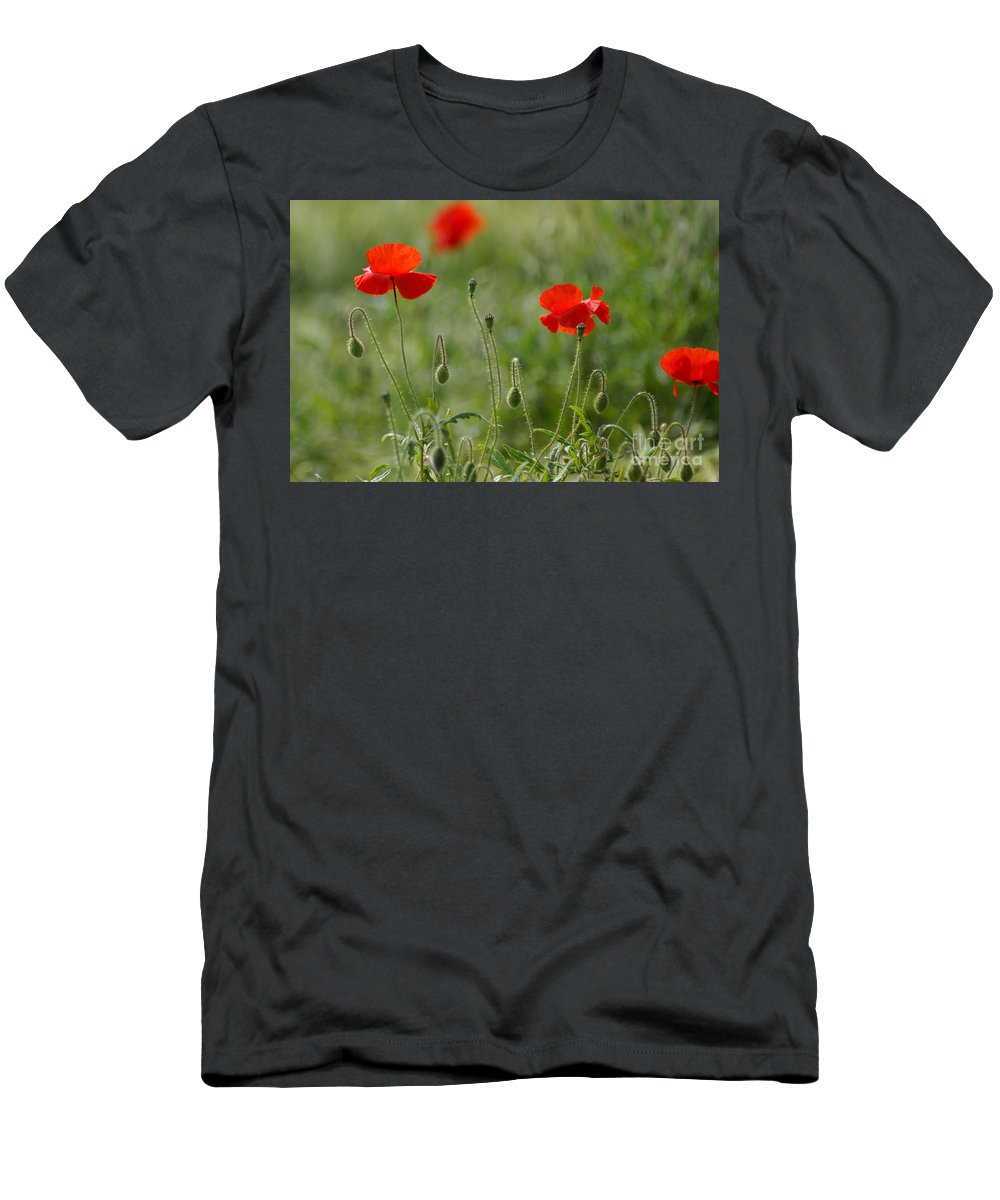 Poppies Men's T-Shirt (Athletic Fit) featuring the photograph Red Poppies 2 by Carol Lynch