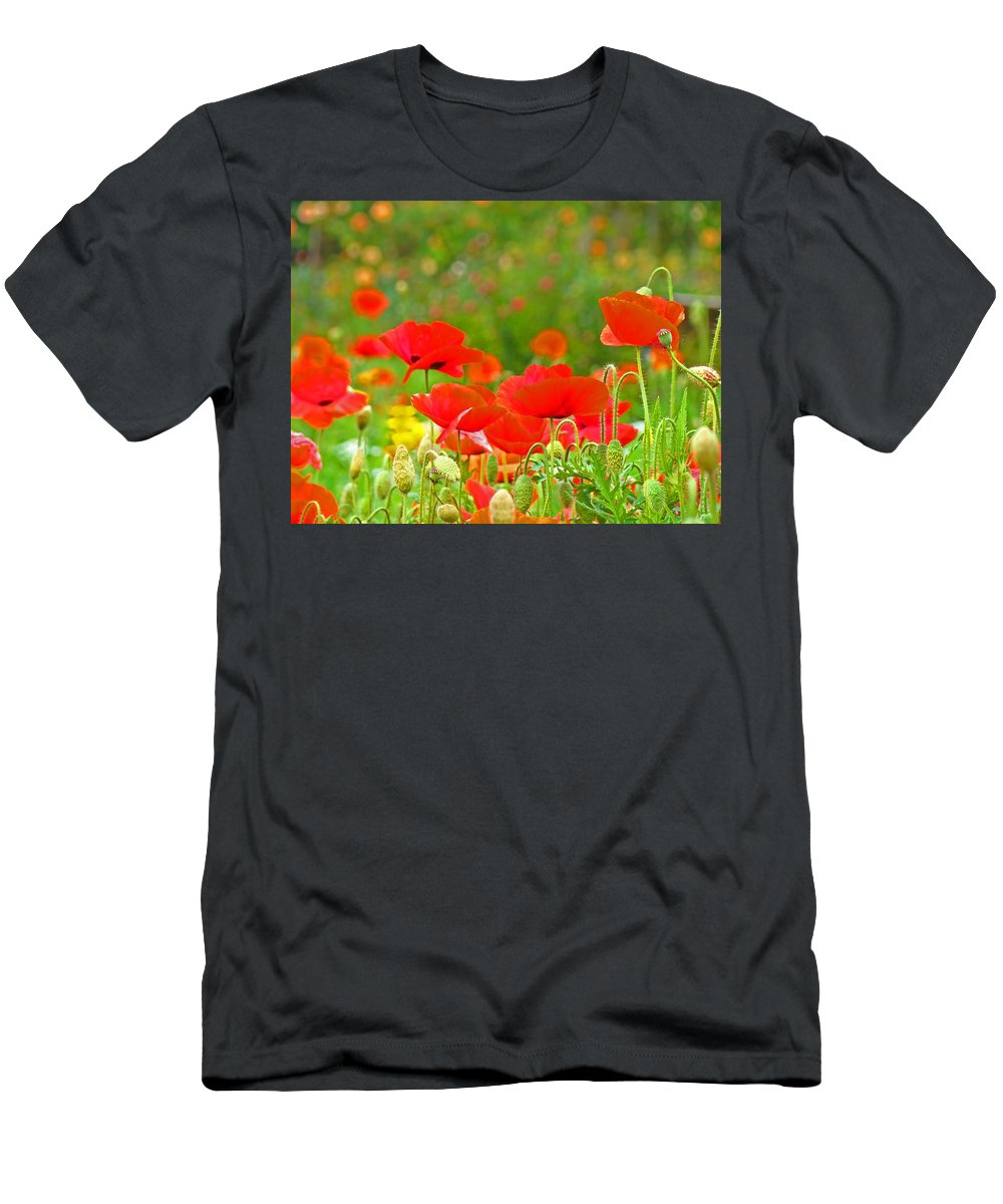 Red Men's T-Shirt (Athletic Fit) featuring the photograph Red Poppy Flowers Meadow Art Prints by Baslee Troutman