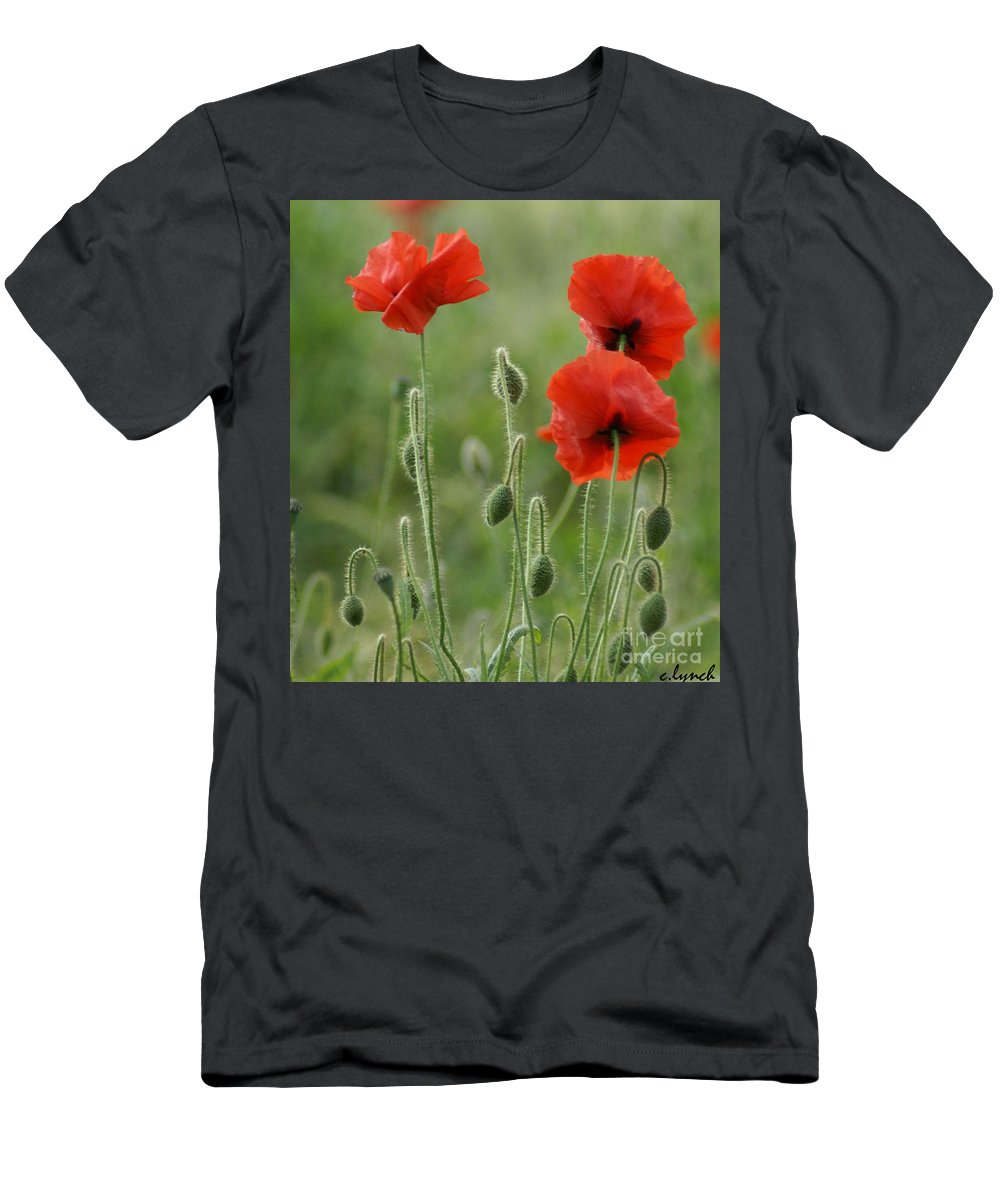 Poppies Men's T-Shirt (Athletic Fit) featuring the photograph Red Red Poppies 1 by Carol Lynch