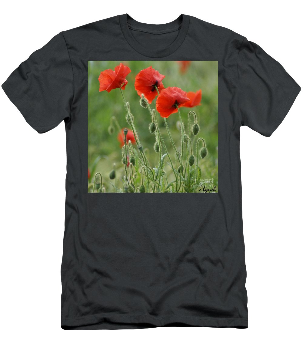 Poppies Men's T-Shirt (Athletic Fit) featuring the photograph Red Red Poppies 2 by Carol Lynch