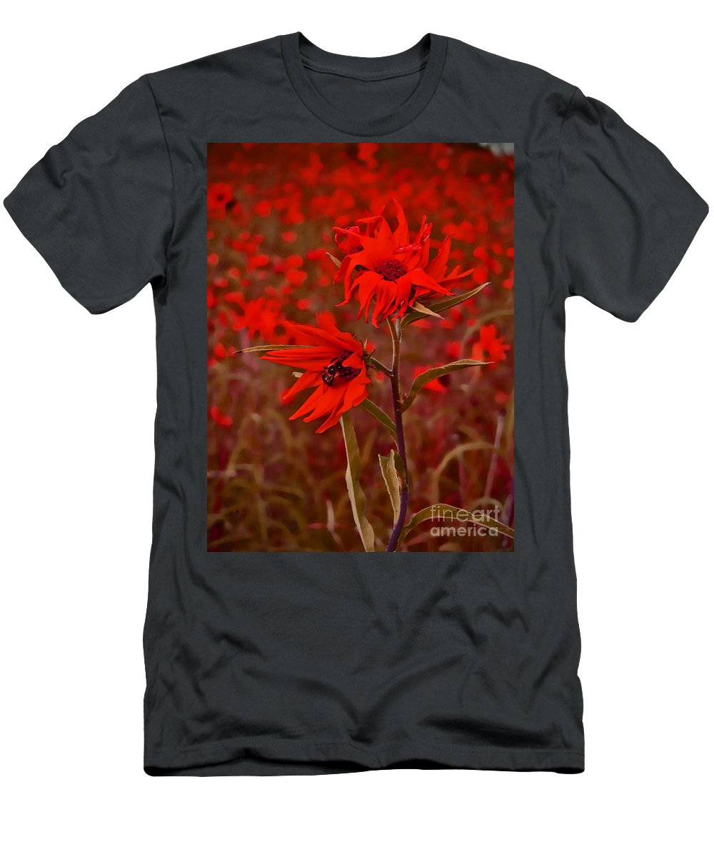 Flower Men's T-Shirt (Athletic Fit) featuring the photograph Red Red Wild Flowers by Minding My Visions by Adri and Ray