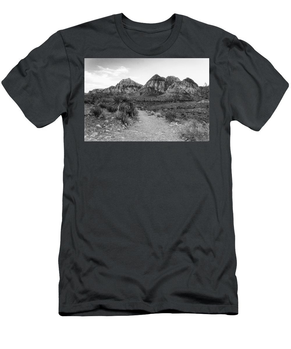 Red Rock Canyon Men's T-Shirt (Athletic Fit) featuring the photograph Red Rock Canyon Trailhead Black And White by Stephanie McDowell