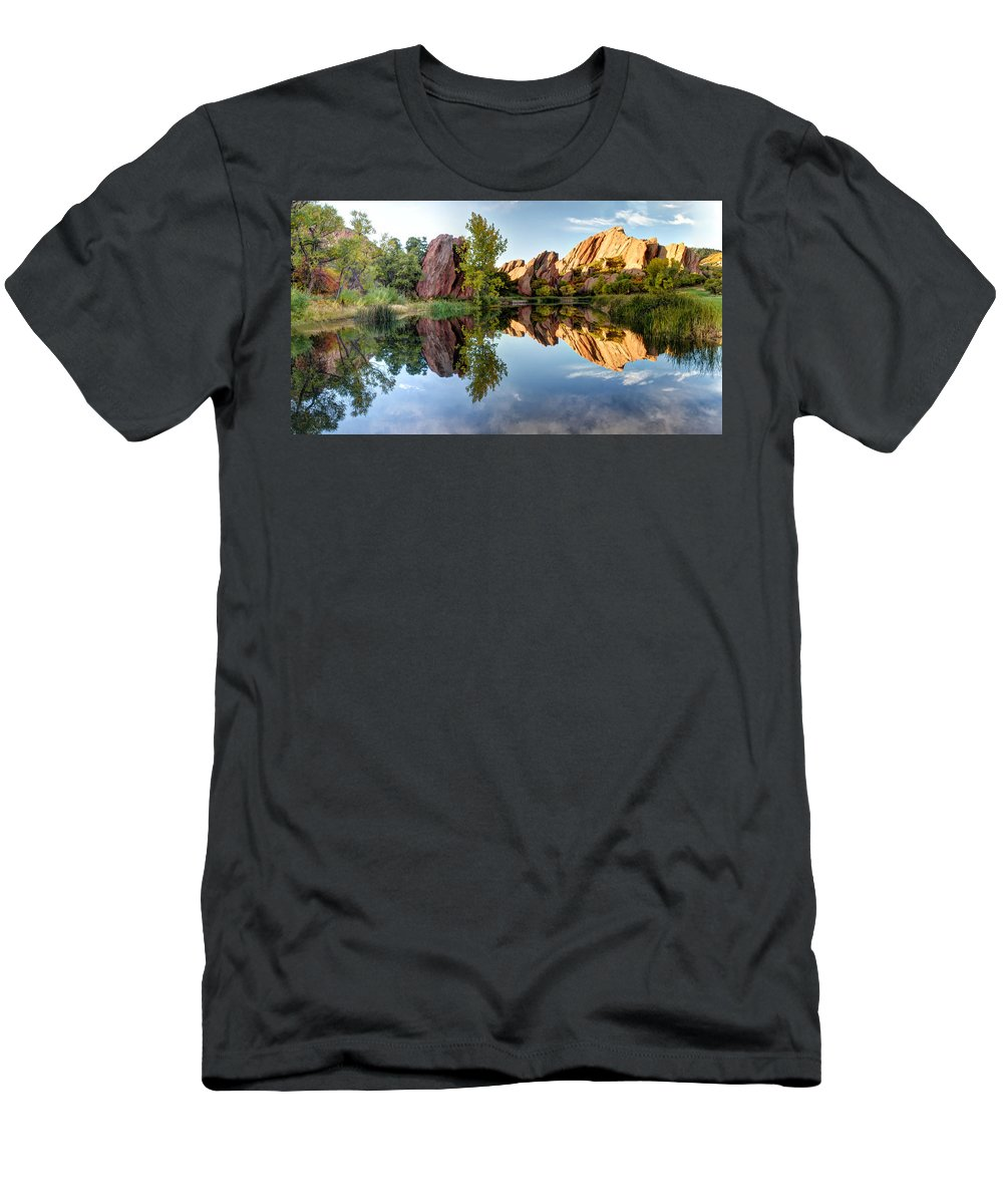 Red Rocks Men's T-Shirt (Athletic Fit) featuring the photograph Red Rocks Reflection by OLena Art Lena Owens