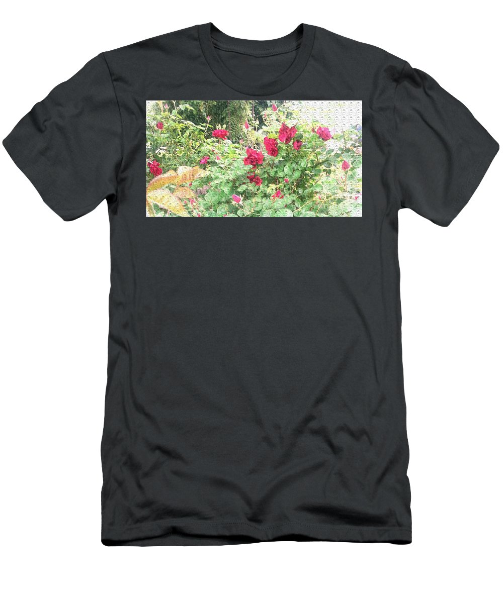 Roses Men's T-Shirt (Athletic Fit) featuring the photograph Red Roses by Alys Caviness-Gober