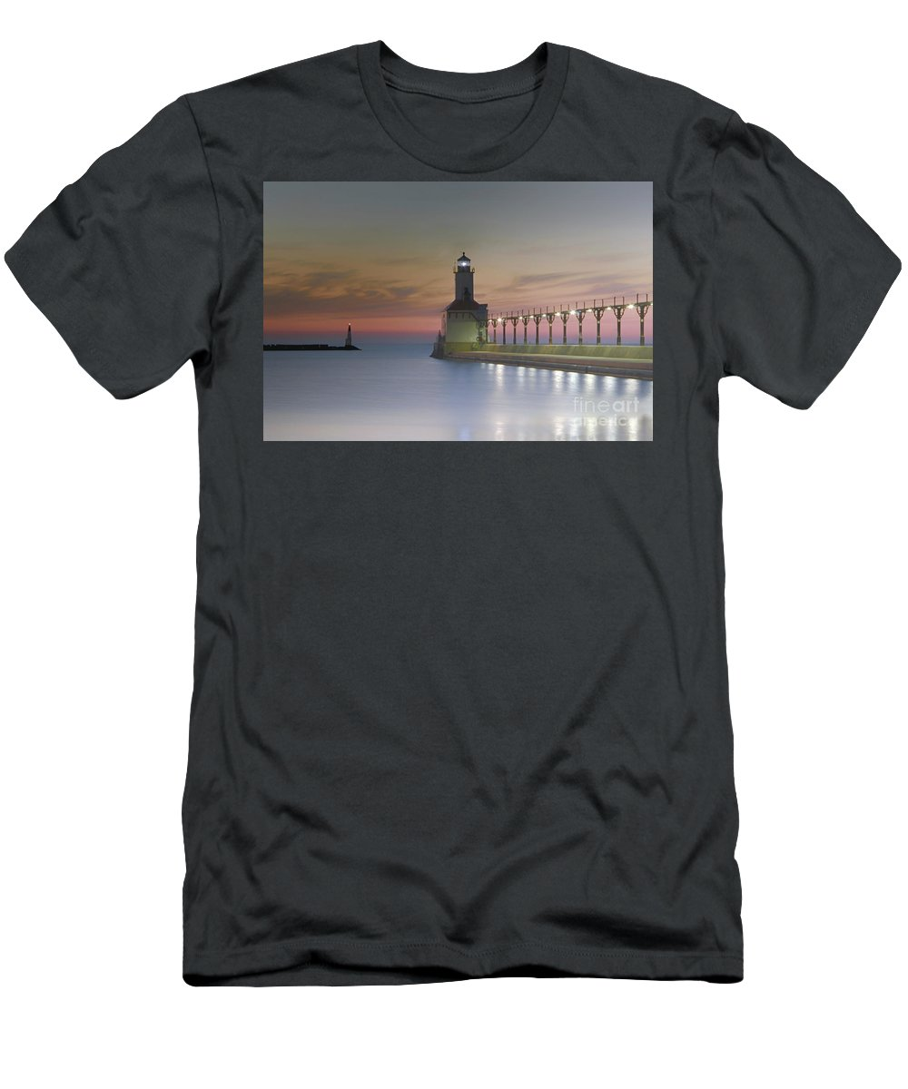 Lake Michigan Men's T-Shirt (Athletic Fit) featuring the photograph Red Sky At Night by Michael J Samuels