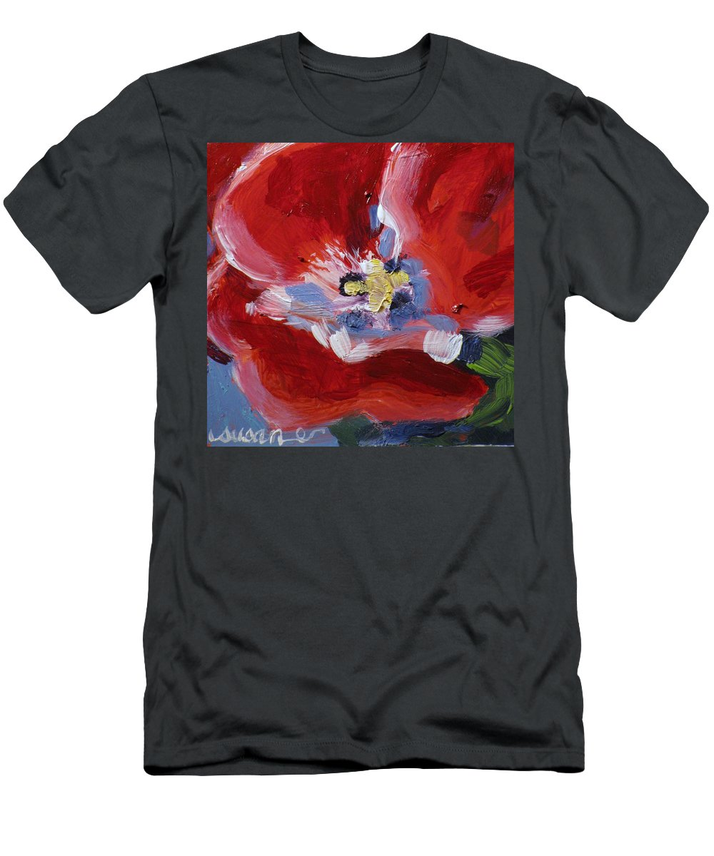 Floral Men's T-Shirt (Athletic Fit) featuring the painting Red Tulip by Susan Elizabeth Jones