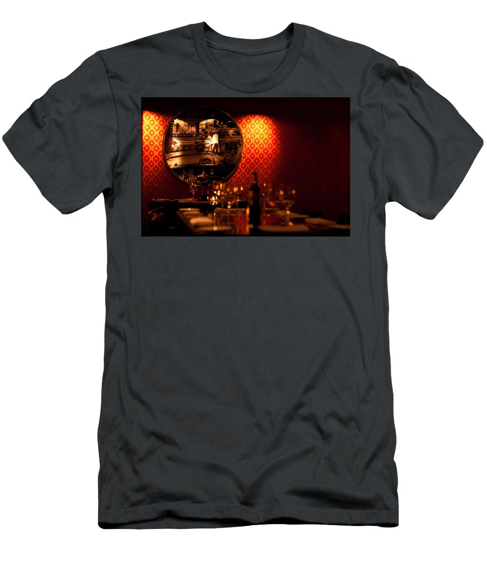 Red Men's T-Shirt (Athletic Fit) featuring the photograph Red Wall And Dinner Table by Jess Kraft