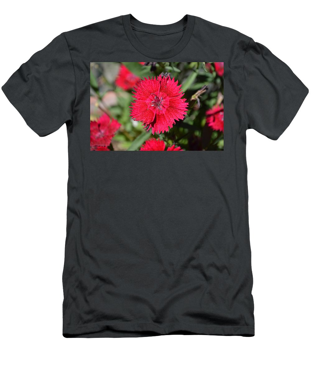 Barbara Snyder Men's T-Shirt (Athletic Fit) featuring the digital art Red Winery Flower by Barbara Snyder