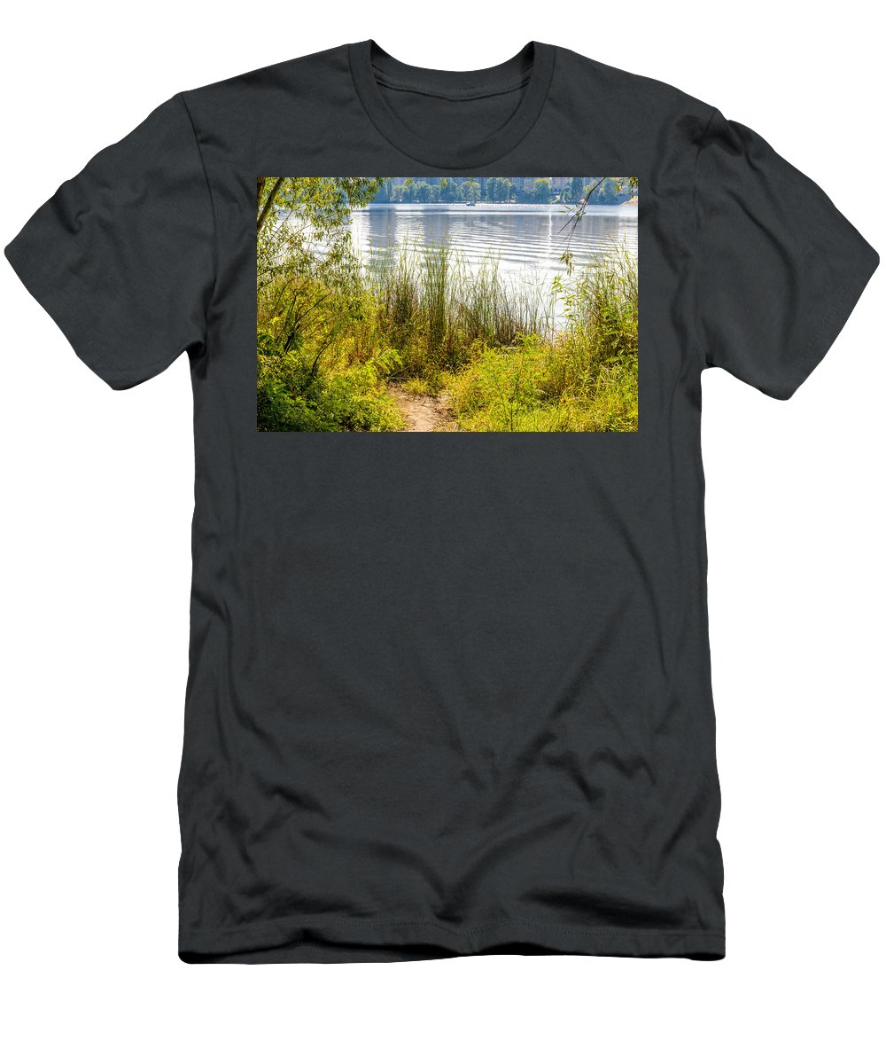 Dnieper Men's T-Shirt (Athletic Fit) featuring the photograph Reeds And Plants Close To The Shore by Alain De Maximy