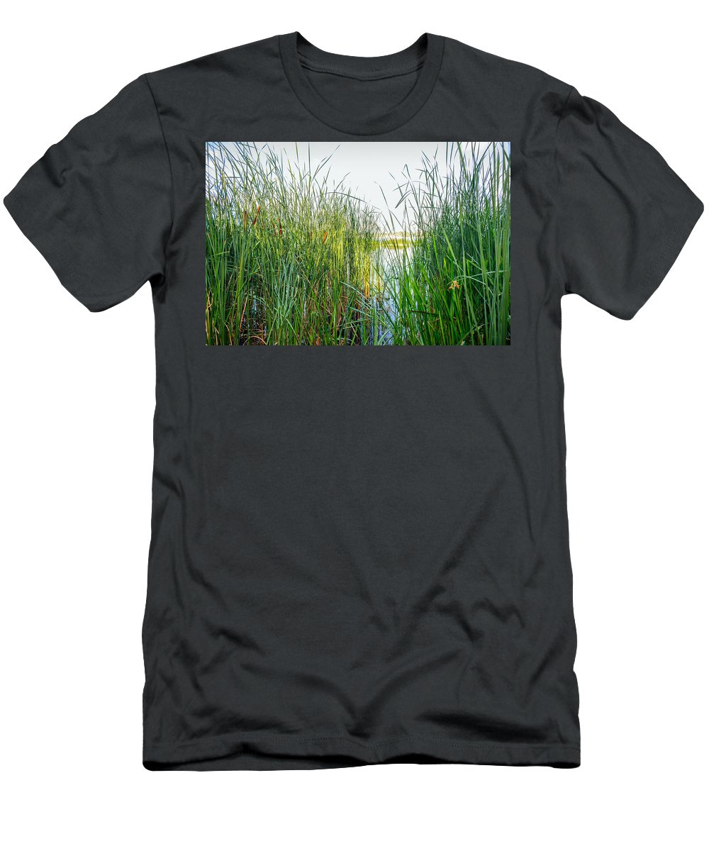 Bank Men's T-Shirt (Athletic Fit) featuring the photograph Reeds And River by Alain De Maximy