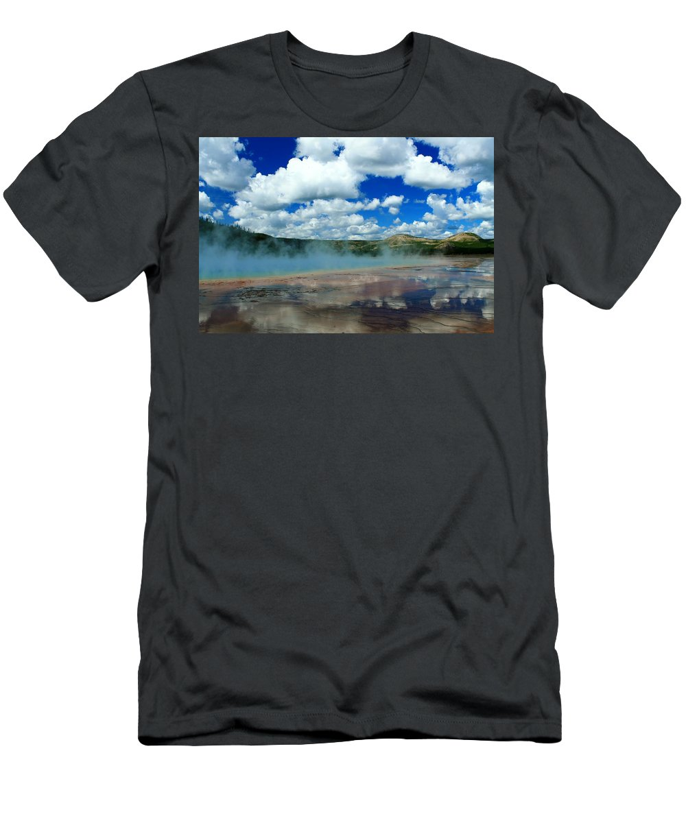 Yellowstone National Park Men's T-Shirt (Athletic Fit) featuring the photograph Reflecting Springs by Catie Canetti