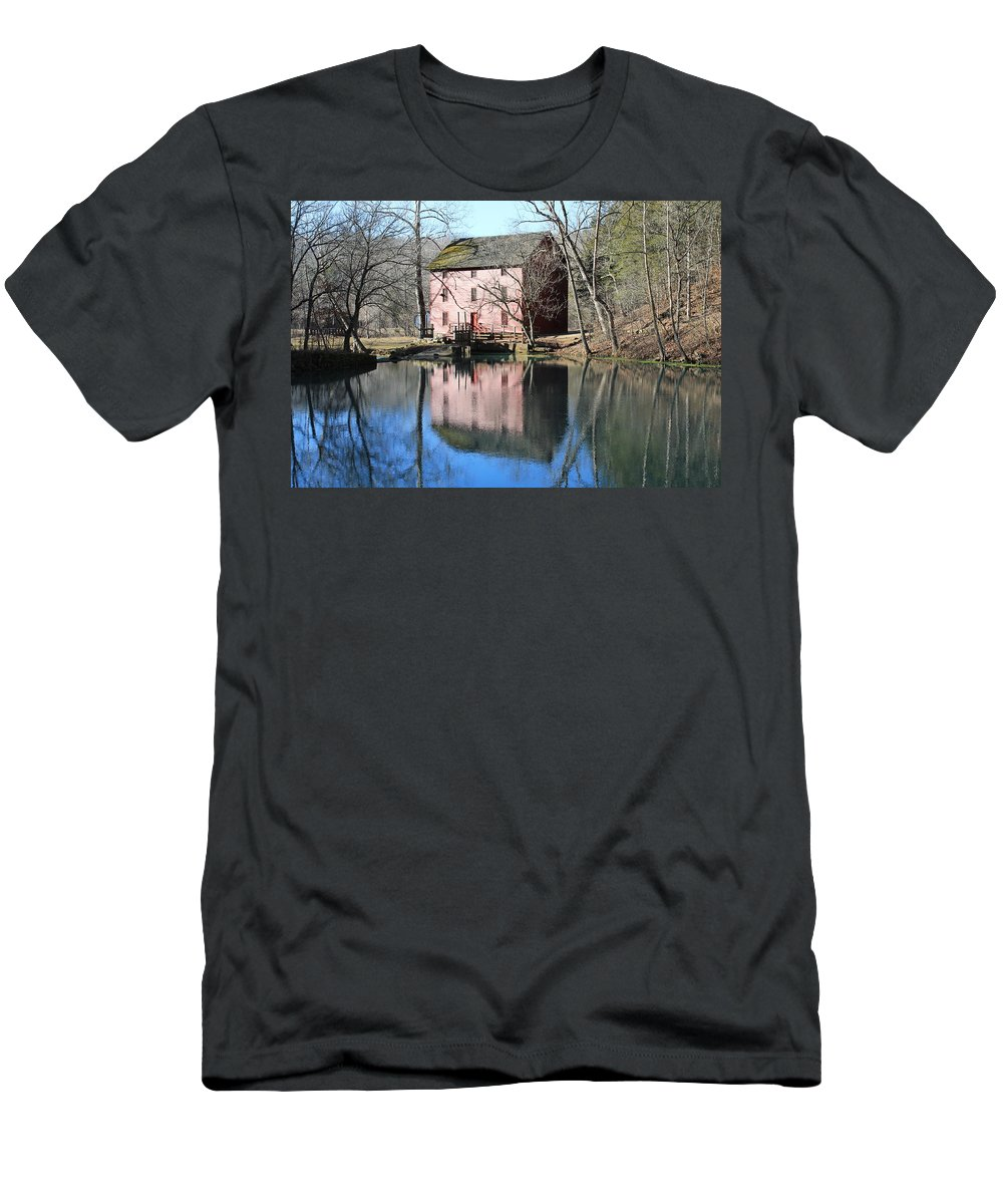 Landscape Men's T-Shirt (Athletic Fit) featuring the photograph Reflection At The Mill by Lora Hall