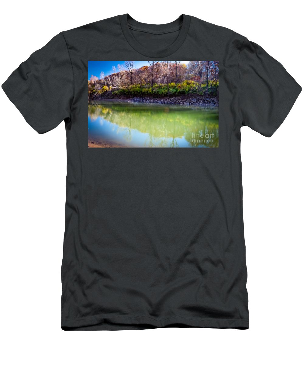 Reflections Of Autumn Men's T-Shirt (Athletic Fit) featuring the photograph Reflection Of Beauty by Peggy Franz