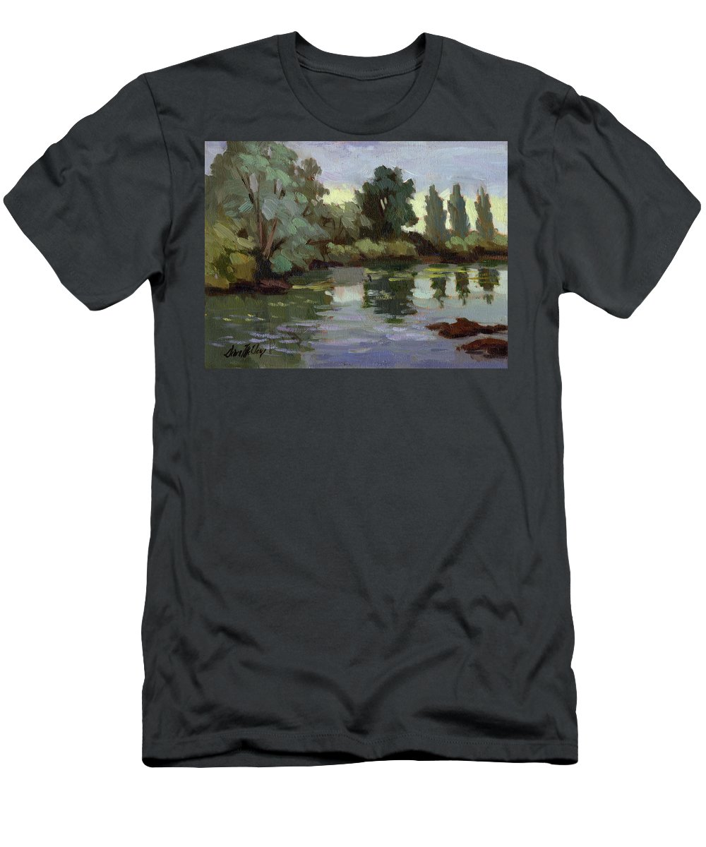 Washington Men's T-Shirt (Athletic Fit) featuring the painting Reflections Duwamish River by Diane McClary