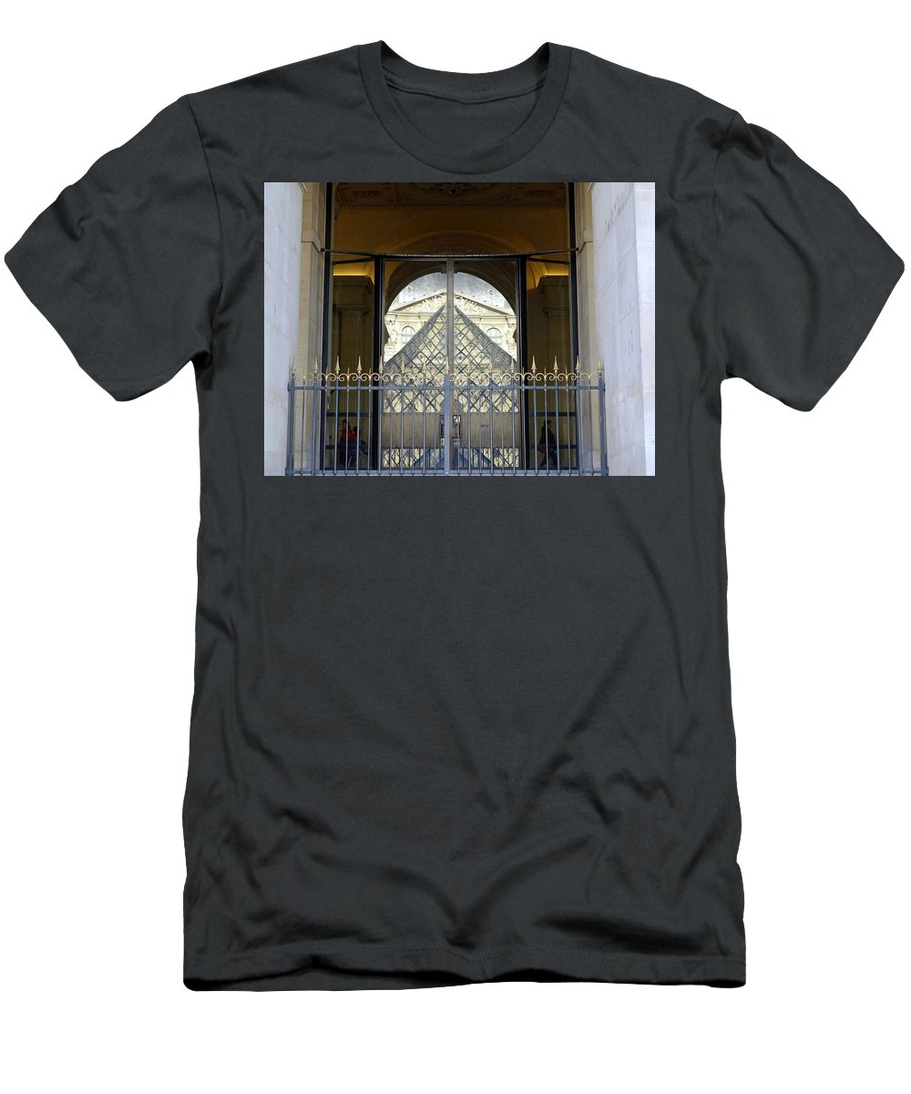 Paris Men's T-Shirt (Athletic Fit) featuring the photograph Reflections Of The Musee Du Louvre In Paris France by Richard Rosenshein