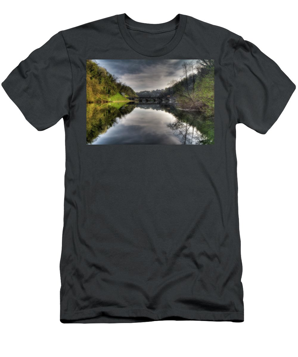 Adda Men's T-Shirt (Athletic Fit) featuring the photograph Reflections On Adda River by Roberto Pagani