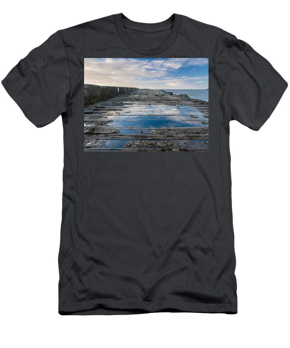 Humboldt Bay Men's T-Shirt (Athletic Fit) featuring the photograph Reflections On The South Spit by Greg Nyquist