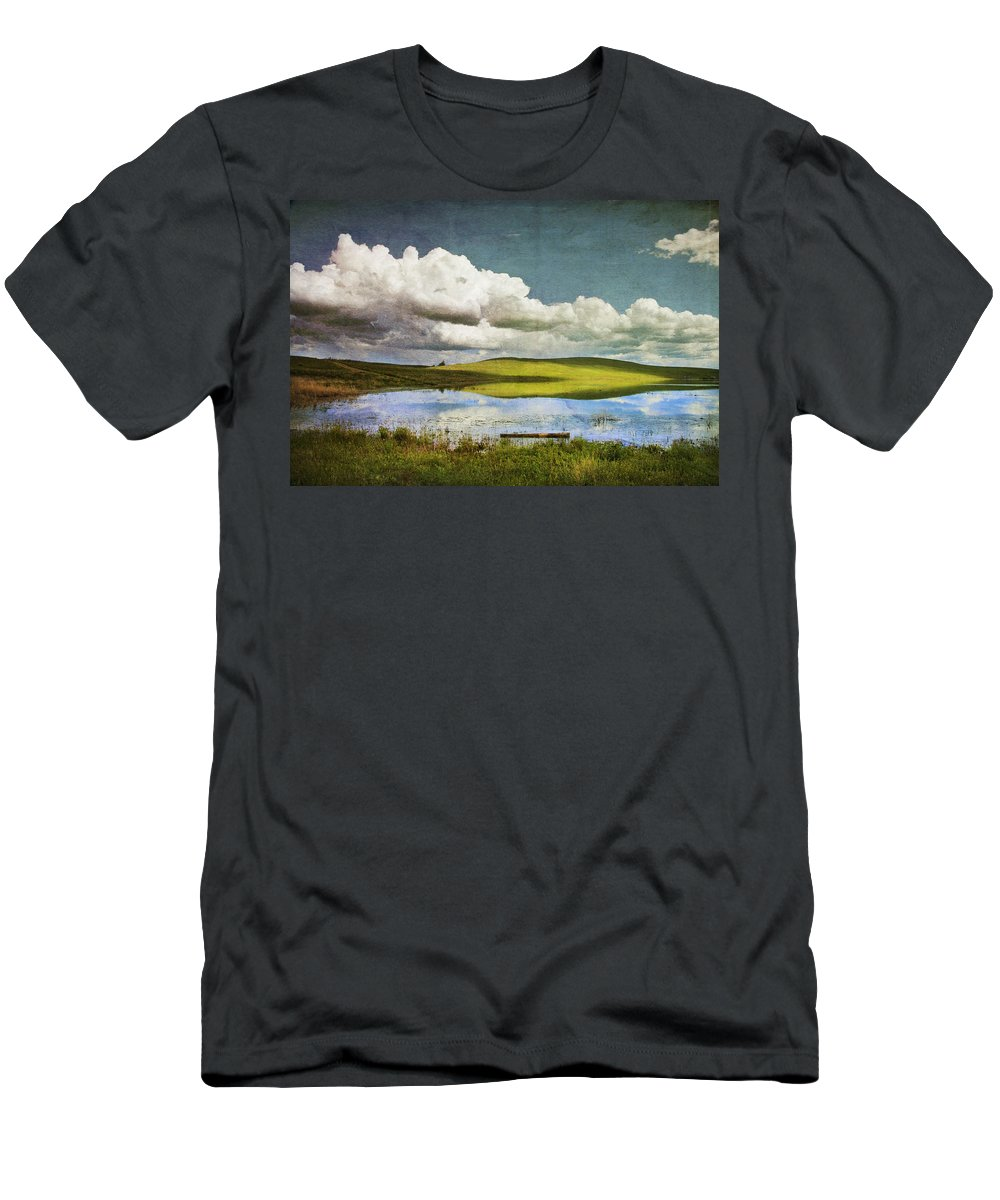 Landscape Men's T-Shirt (Athletic Fit) featuring the photograph Reflections On Watership Down by Theresa Tahara
