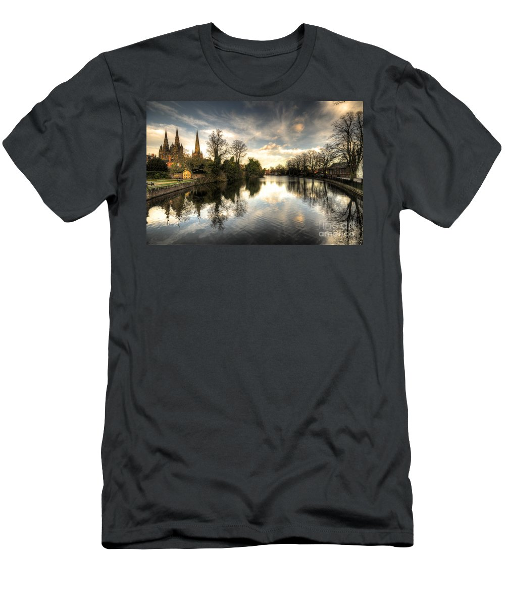 Lichfield Men's T-Shirt (Athletic Fit) featuring the photograph Reflections Over Lichfield by Rob Hawkins