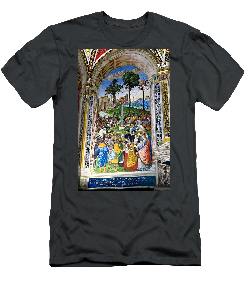 Piccolomini Library Men's T-Shirt (Athletic Fit) featuring the photograph Renaissance Gold by Ira Shander