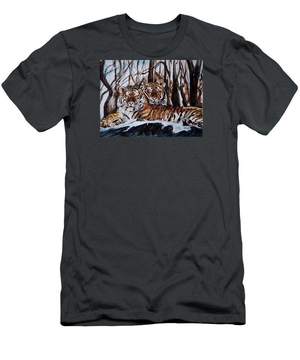 Tiger Men's T-Shirt (Athletic Fit) featuring the painting Resting by Harsh Malik